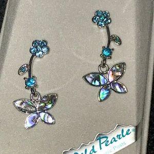 New Wild Pearle Blue Butterfly Dangly Earrings